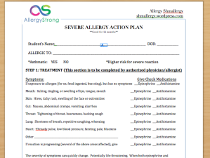 Severe Allergy Action Plan