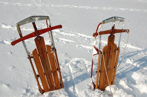 winter sledding in the snow, winter break