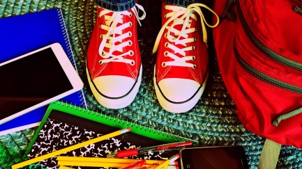 Red sneaks notebooks school-909381_1920