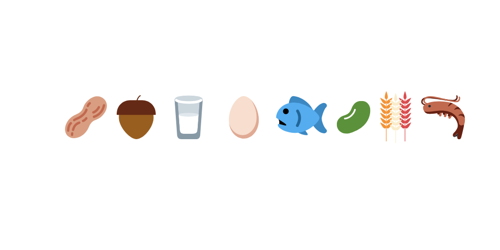 Top 8 Food Allergens - white background